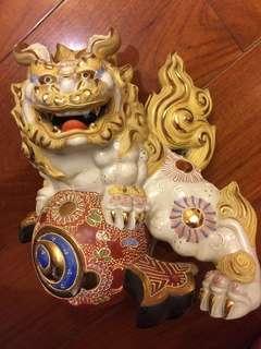 日本九谷燒獅(狛犬)