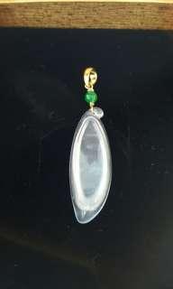 天然緬甸玉a貨玻璃木拿+小綠珠鑲嵌14k金秀氣墜子