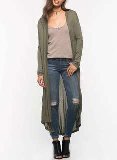 Asymmetrical cardigan with hoodie