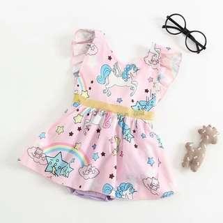 Lovely Unicorn Print Ruffled Backless Dress Bodysuit in Light Pink for Baby Girl