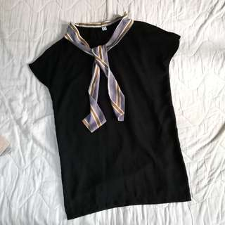 Black Shift Dress With Tie