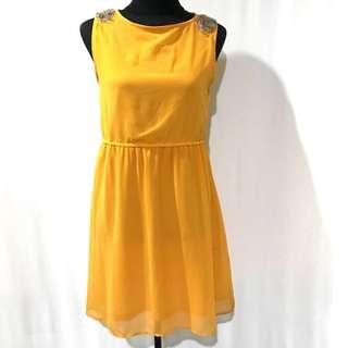 Mustard Bejewelled Flowy Dress