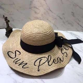 現貨-韓版防曬遮陽草帽沙灘帽子女夏天海邊大沿度假帽