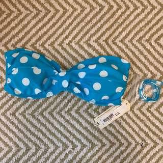 Blue Polka Bikini Top