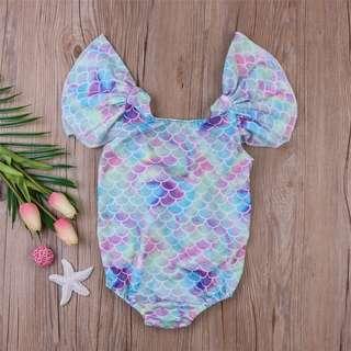 Cute Bow Tie Mermaid Toddler Girl Swim wear