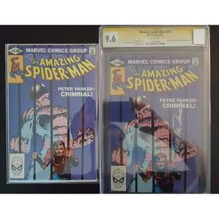 "Amazing Spider-Man #219,#219 CGC 9.6 SS (1974, 1st Series) Set of 2, Bronze Age Collectibles! CGC 9.6 Signed by ""Lucky"" Luke McDonnell! FRANK MILLER Cover! Guest-starring Daredevil! ""One To Read,One To Keep"" Series."