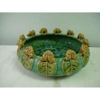 石灣陶瓷青蛙樹葉盆栽陶瓷盤
