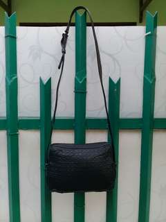 Christian Dior Vintage Cannage Sling Bag Nylon France Black Crossbody AUTHENTIC Luxury Small Leather