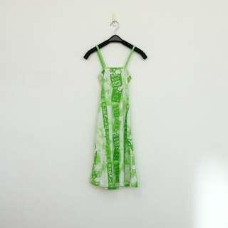 🚚 二手 白綠 印花 緊騷 低胸 交叉露背 彈性 洋裝 明太子 606