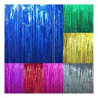 Tinsel Curtain 1m(W) x 2m(L) - Blue/Gold/Silver/Red/Purple/Hot Pink/Green