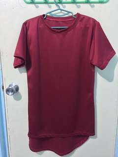 Red Long Tee with Zipper