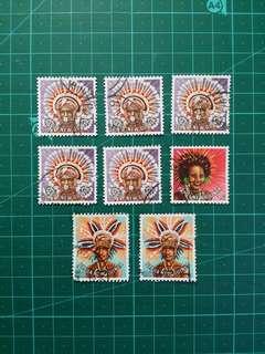 [贈品]1978 巴布亞新畿內亞 頭飾通用票 舊票八枚