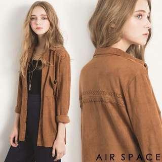 🚚 AIR SPACE 編織口袋麂皮長袖襯衫/外套(咖)