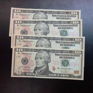 4 Usa $10 Unc Running Star Notes Replacement