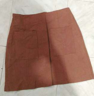 Suede like fabric brown mini skirt