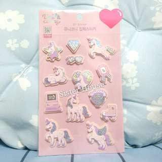 (包郵現貨)🇰🇷Daiso Korea Unicorny Bling Bling 3D Sticker 獨角馬閃閃立體貼紙