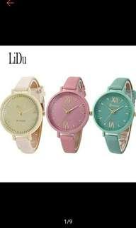 LIDU Women Faux Leather Roman Numerals Quartz Dress Watch (Ships in 10days)