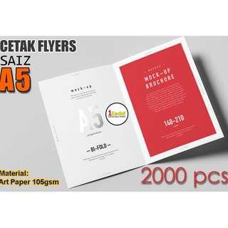 Print 2000 Helai A5 Flyers Lipat Dua