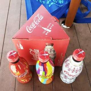 11年台灣慶祝可口可樂誕生125週年紀念包膠玻璃樽一套