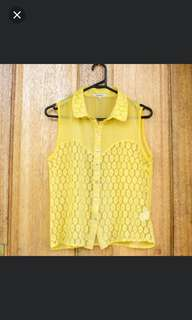 Happy Summer Yellow Lace Singlet