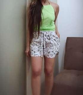 Green backless top and printed shorts