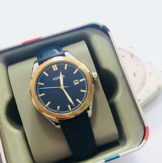 Fossil Watch in Navy Blue Leather Strap