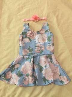 Sleeveless dress with free headband 0-3months
