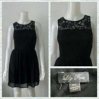 Lily Rose Black Lacey Cocktail Dress
