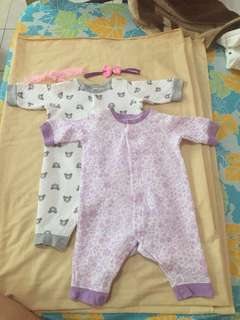 Baby clothes 2 frog suits 3-6 months with free 2 headbands