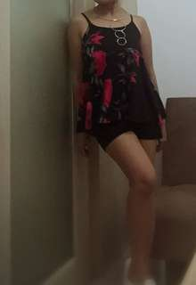 Terno summer wear  (black red printed blouse wt black shorts)