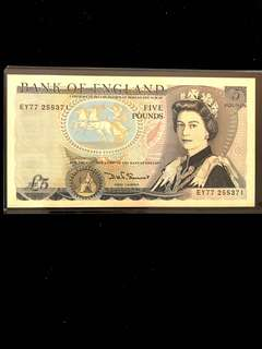 1980-1988 England Five 5 Pounds Sterling, Bank of England Banknote. Very Lightly Circulated XF Excellent Condition. Rare.