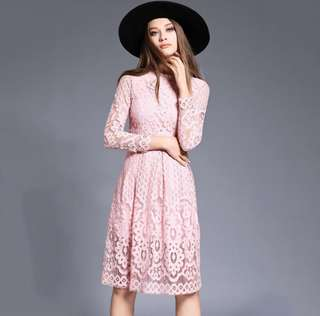 Sofia Pink Formal Lace Dress