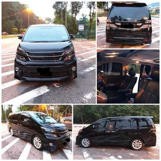 SAMBUNG BAYAR/CONTINUE LOAN  TOYOTA VELLFIRE 2.4 ZG PLATINUM  YEAR 2009/2013 MONTHLY RM 2050 BALANCE 4 YEARS ROADTAX VALID FULLSPEC 2 POWER DOORS POWER BOOT SUNROOF  DP KLIK wasap.my/60133524312/vellfire