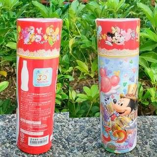 13年日本可口可樂慶祝東京迪士尼渡假酒店開心30週年紀念玻璃樽一枝含筒