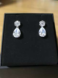 Stimulation Tear Drop Diamond Earrings 18k White Gold Plated