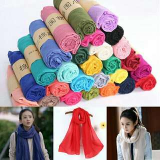 Lady's Long Candy Color Soft Cotton Scarf Wrap Shawl Scarves