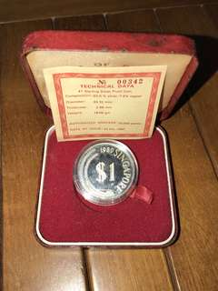 $1 Lion coin Sterling Silver Proof
