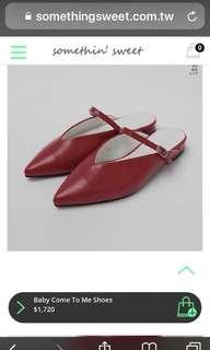 🚚 正韓紅色穆勒鞋