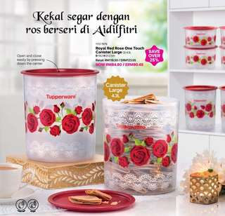 💥June Sale💥Tupperware Royal Rose One Touch 4.3L - 1pc