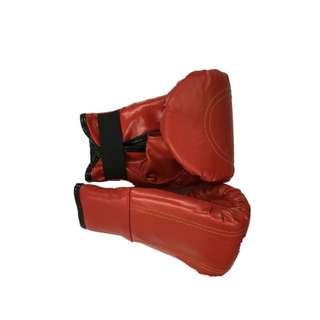 open thumb Fight Leather Boxing Gloves red