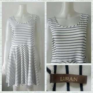 Plus Size Libian White Stripes Skater Dress