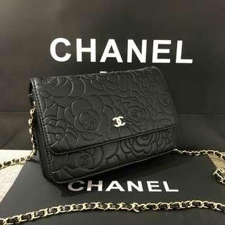 Chanel Camellia WOC Black