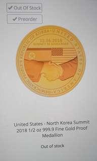 Donald Trump Kim Jong Un Singapore Summit Gold Coin