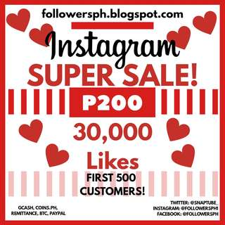 30,000 Likes For Instagram (Super Sale)