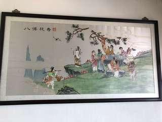中國刺繡畫 大幅連框