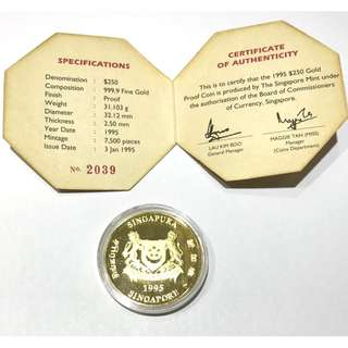 Singapore $250 Gold Proof Con issued in 1995 commemorating the year of the Boar 31.103gm