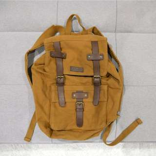 Barneys Kaki Brown Back Pack with Leather Straps