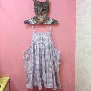 [彩色櫥窗]薰衣草紫格子下擺寬鬆可愛吊帶裙