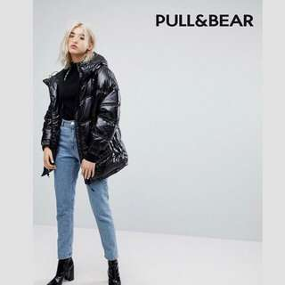 Pull & Bear Coat Black Puffer Ski Jacket