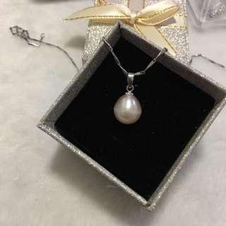 天然淡水珍珠s925純銀吊墜(10x10.4mm珠)